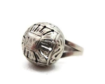 Sterling Statement Ring - Silver Vinaigrette Orb Rinf Mexico or Peru
