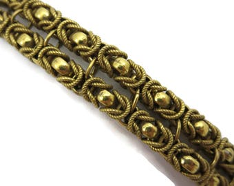 Byzantine Jewelry Bracelet - Double Strand Gold Tone Safety Chain Costume Jewelry