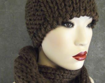Hand knit,Pixie Hat,Mini Hat,Brown,Scarf Set,Accessory, Women, Winter,Chemo Cap,Beanie,skull cap