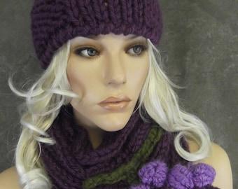 Accessory, Women,Knit Hat,Scarf,OOAK,Purple,Grape,Winter,Mini Hat,Hand knit,Infinity scarf