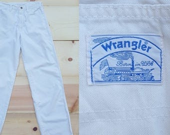 "Vintage Painters Pants  /  Vtg 70s 80s WRANGLER Womens Work Wear Made in the USA Trashed Distressed Off White Carpenters Jeans  /  27"" waist"