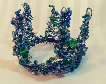 Green Blue Beaded Crown
