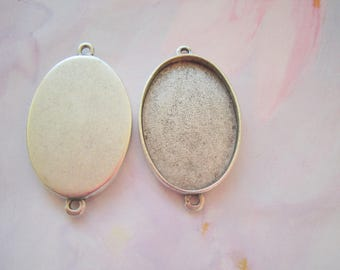Oval Pendant Blanks Extra Large Silver Plated Pewter  (No. ND225)