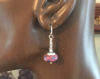 African Trade Bead Earrings Rose With Latticcino Dots, Glass and Sterling Silver