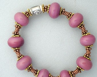 Summer Sale Lampwork Glass Bead Bracelet in Dusty Rose Color
