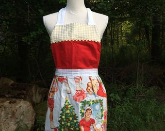 Christmas PIN-UP Apron // Retro Quilted Design  // Vintage Style // All I want for Christmas
