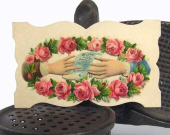 Victorian Calling TWO HANDS hidden name Angus Sullivan poem antique calling card No4