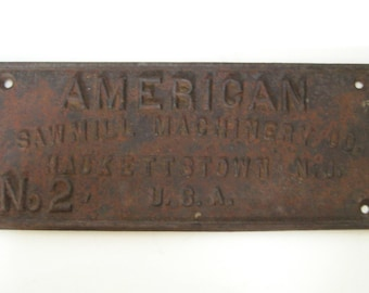 American Sawmill Machinery Co. Cast Iron Plaque Face Plate Sign