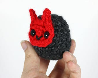 Amigurumi Crochet Demon Baby Plushie - Red Oni Cute Demon Plush - Ready to Ship