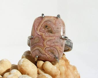 Rhodochrosite Ring, natural pink stone silver ring