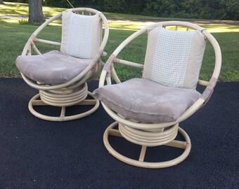 2 BOHO CHIC rattan circular hoop swivel lounge chairs