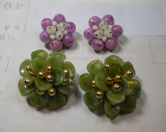 Vintage Large Clip On Earrings West GermanyPurple and White Green with Gold Plastic Unique Costume Jewelry 1950's