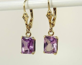 Gold Over Sterling 925 Amethyst Earrings