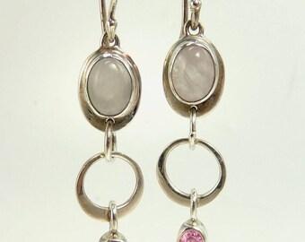Sterling 925 Moonstone & Pink Earrings Modernist Design