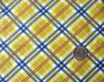 Vintage 1940's Feed Sack Cotton Fabric, Red, Blue, Mustard Yellow Diagonal Plaid Pattern