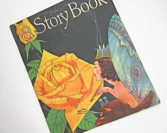 Unused Child's Coloring Story Book, Vintage 1935 Coloring Book, a Story Book, Saalfield Pub, Fairy Painting a Golden Rose Cover Graphics