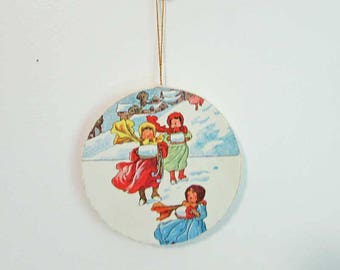 Handmade Holiday Ornament,  Home Decor Ornament, Recycled Child's Book Image, Children in Snow,  Cottage Decor, Holiday Hanger Ornament
