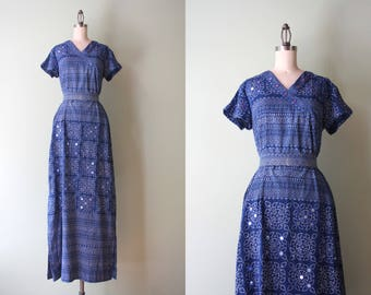 1960s Ramona Rull Dress / Vintage 60s 70s Block Print Cotton Maxi Dress / 1970s Mirrored Cotton Kaftan S small Deadstock Nos