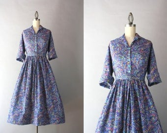 1960s Dress / Vintage Early 60s Psychedelic Shirtwaist Dress / 1960s Cotton Day Dress L large