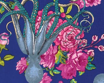 Octopus Flowers Navy Blue Tokyo Milk Freespirit Fabric 1 yard