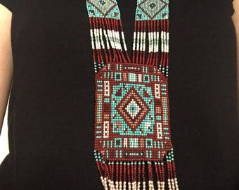 Ethnic Long Beaded Necklace/ beadwoven long necklace/Loom beaded necklace/