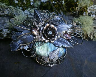 Gothic Steampunk Dark Silver and Blue Labradorite Necklace with Pearls and Dragonflies
