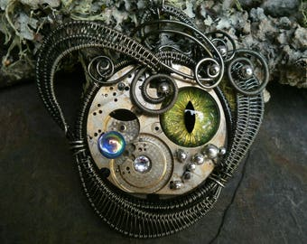 Gothic Steampunk Watch Eye Double Sided Pendant