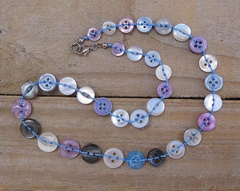 Button necklace in blue, lilac and white - petite/children's necklace, one of a kind