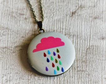 Pink Rain Cloud Locket, Cloud Necklace, Rain Jewelry, Pink Cloud Locket, Illustration Jewellery
