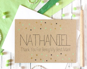 Personalised Best Man Card. Best Man. Thanks for Being My Best Man. Best Man Thanks. Best Man Thank You Card. Best Man Wedding Card. Men