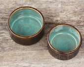 Rustic Turquoise & Brown Kitchen Prep Bowl, Snack Bowl, Ice Cream Bowl Catch All Crock