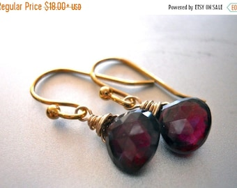 QUICKIE SALE 15% OFF, Garnet Earrings, Rhodolite Garnet Earrings, Garnet Teenie Earrings, Marsala earrings, Gemstone Earrings, birthstone ea