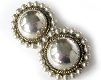 Large Vintage Earrings / Sterling Silver Pierced Earrings Silver Circles Jewelry / Mexico 925 TR-120 Statement Earrings Senorita Style