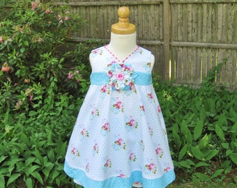 Size 18Mo, dress and shorts, 2 piece set, Pink roses, Baby girl, Toddler, Ready to ship, Birthday, White floral dress, Party dress, OOAK