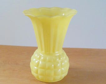 Vintage Yellow Glass Vase • Simple Modern Fired on Glass Vase • Large Yellow Vase