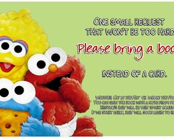 Sesame Street Baby Shower / Bring a Book Insert Card / Printable File