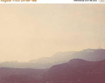 SALE travel photography, LA decor, Hollywood sign, the hills, Los Angeles at Dusk photo, retro vintage blue purple light, California travel