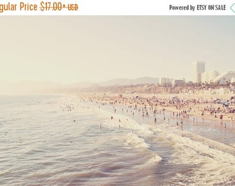 SALE photography, beach photograph, Sunny California, crowded summer pastel blue west coast vacation Santa Monica seaside fine art print