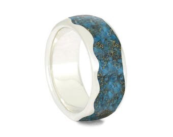 Crushed Turquoise Wedding Band, Wavy Sterling Silver Ring With Yellow Gold Shavings, Women's Turquoise Ring