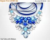 ON SALE Blue and Crystal AB Rhinestone Bib Necklace, Elegant Blue Rhinestone Statement Necklace, Blue Jeweled Bib Necklace, Holiday Necklace