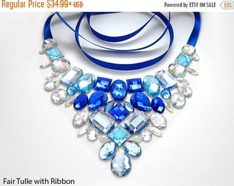 ON SALE Blue and Crystal AB Rhinestone Bib Necklace, Elegant Blue Rhinestone Statement Necklace, Blue Jeweled Bib Necklace, Holiday Necklace