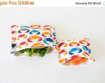 ON SALE PLASTIC-Free Colorful Crabs Sandwich and Snack Bags, Reusable, Organic Cotton, Eco Friendly - Set of 2
