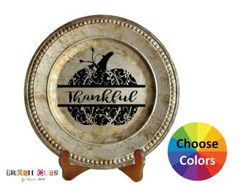 Charger Plate Vinyl Decal Home Decor Thanksgiving Thankful Pumpkin DIY Gift Choose From 25 Colors