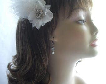 White Feather Rhinestone Tulle Pearls Wedding Hair Clip Sash Brooch Pin Bridal Corsage Accessory Handmade USA