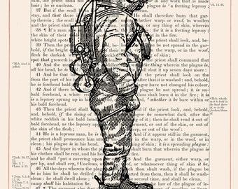 Vintage Scuba Diver on 1883 Bible Paper