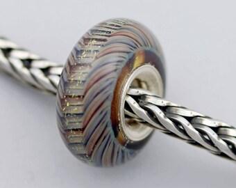 Unique Small Dichro Stripe Bead  - Artisan Glass Bracelet Bead (JUL-59)