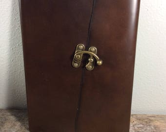 Elegant Brown Leather Baby Book with Latch