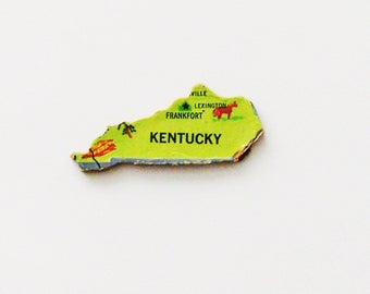 1961 Kentucky Brooch - Pin / Unique Wearable History Gift Idea / Upcycled Vintage Wood Jewelry / Timeless Gift Under 25