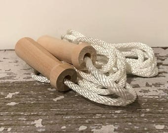 Toy - Jump Rope - 8 ft for height of 5 ft 5 inches and under - Toy Jump Rope with Natural Wood Handles  - also called Skipping Rope