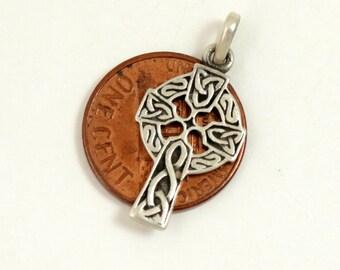 Vintage Celtic Cross Pendant, Sterling Silver, Celtic Cross Charm, Celtic Knot Cross, Celtic Cross Necklace, 925 Silver Cross